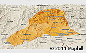 Political Shades Panoramic Map of Vientiane, shaded relief outside
