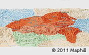 Political Shades Panoramic Map of Xiangkhouang, lighten