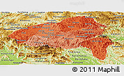 Political Shades Panoramic Map of Xiangkhouang, physical outside