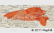 Political Shades Panoramic Map of Xiangkhouang, shaded relief outside