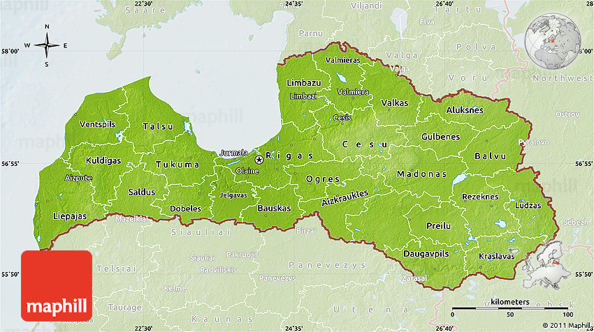 Physical Map of Latvia, lighten
