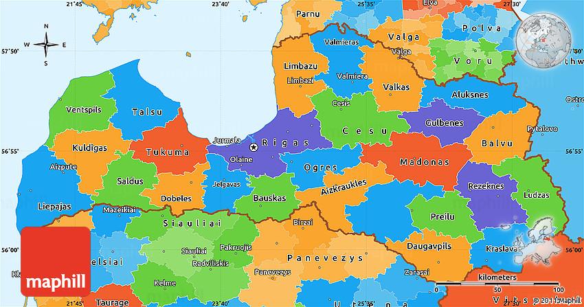 Political Simple Map of Latvia