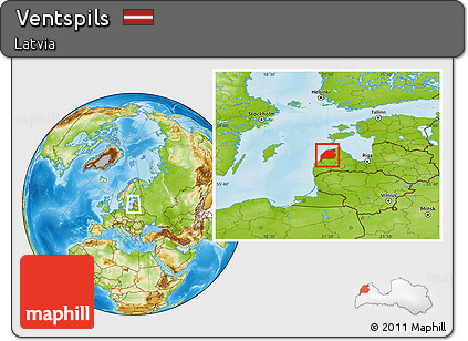 Free Physical Location Map of Ventspils