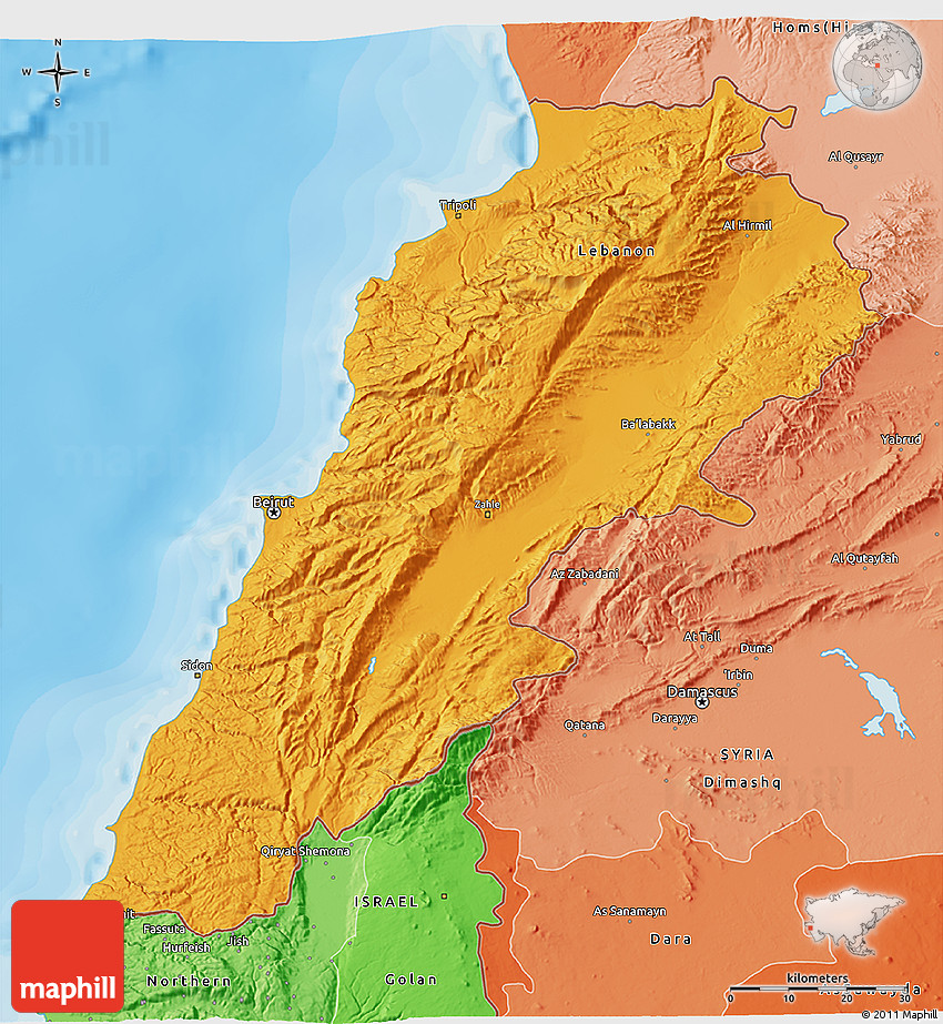 Political Shades 3D Map of Lebanon