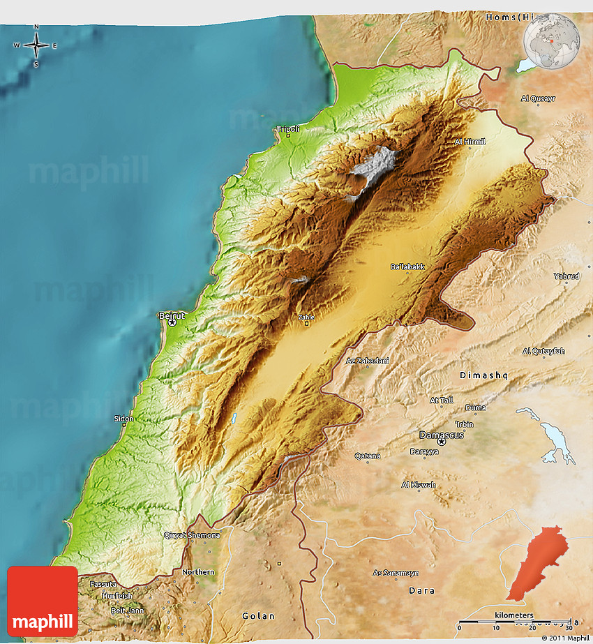 physical 3d map of lebanon  satellite outside