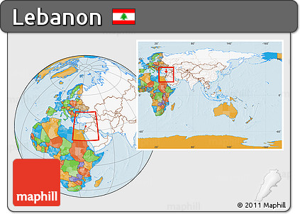 ... Political Location Map Of Lebanon, Highlighted Continent, Within The  Entire Continent