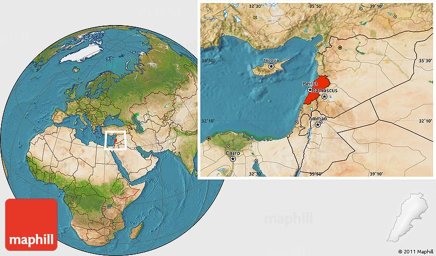 Satellite Location Map Of Lebanon - Satellite location map