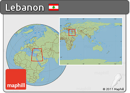 Charming ... Savanna Style Location Map Of Lebanon, Within The Entire Continent
