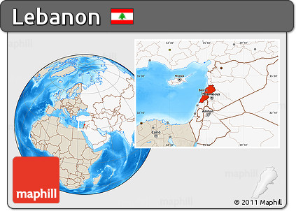 ... Highlighted Continent Shaded Relief Location Map Of Lebanon,  Highlighted Continent