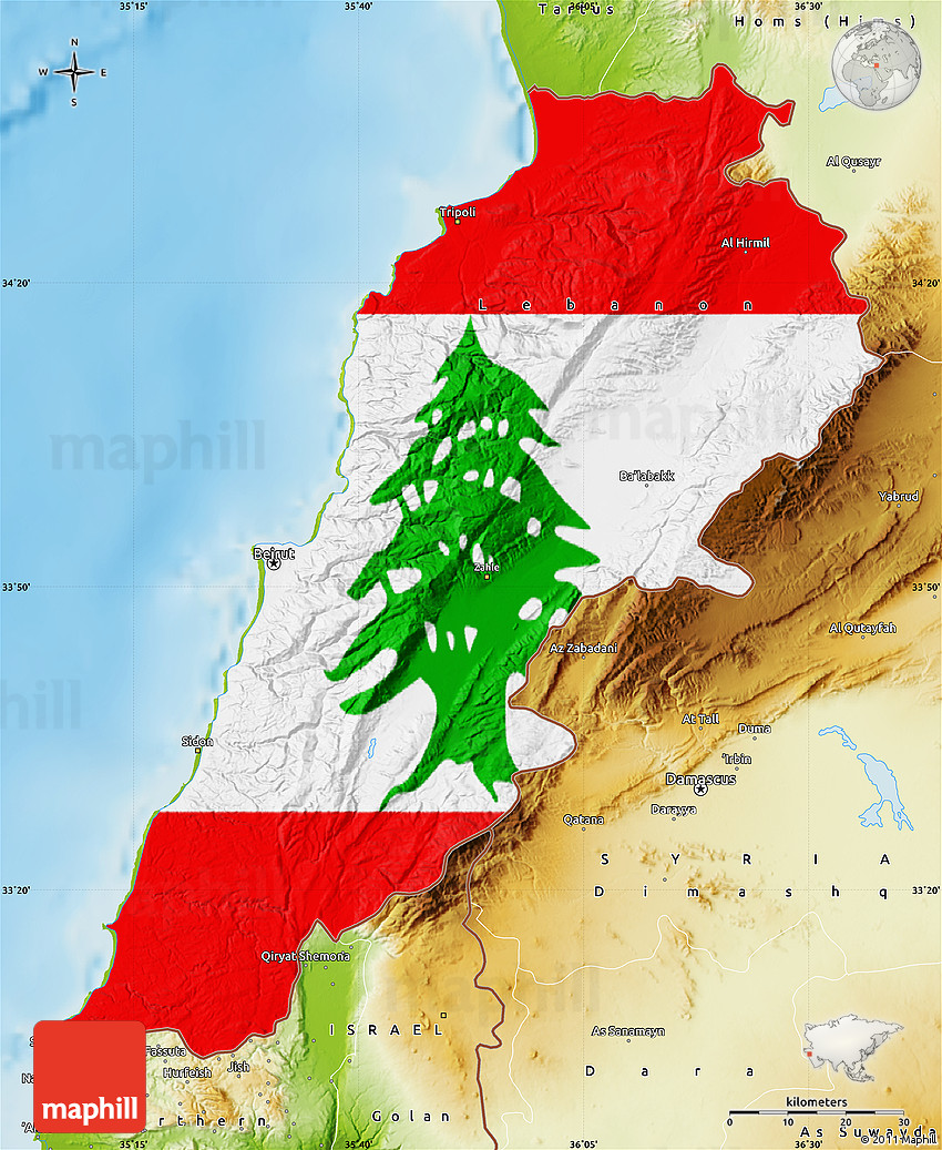 Flag Map of Lebanon physical outside