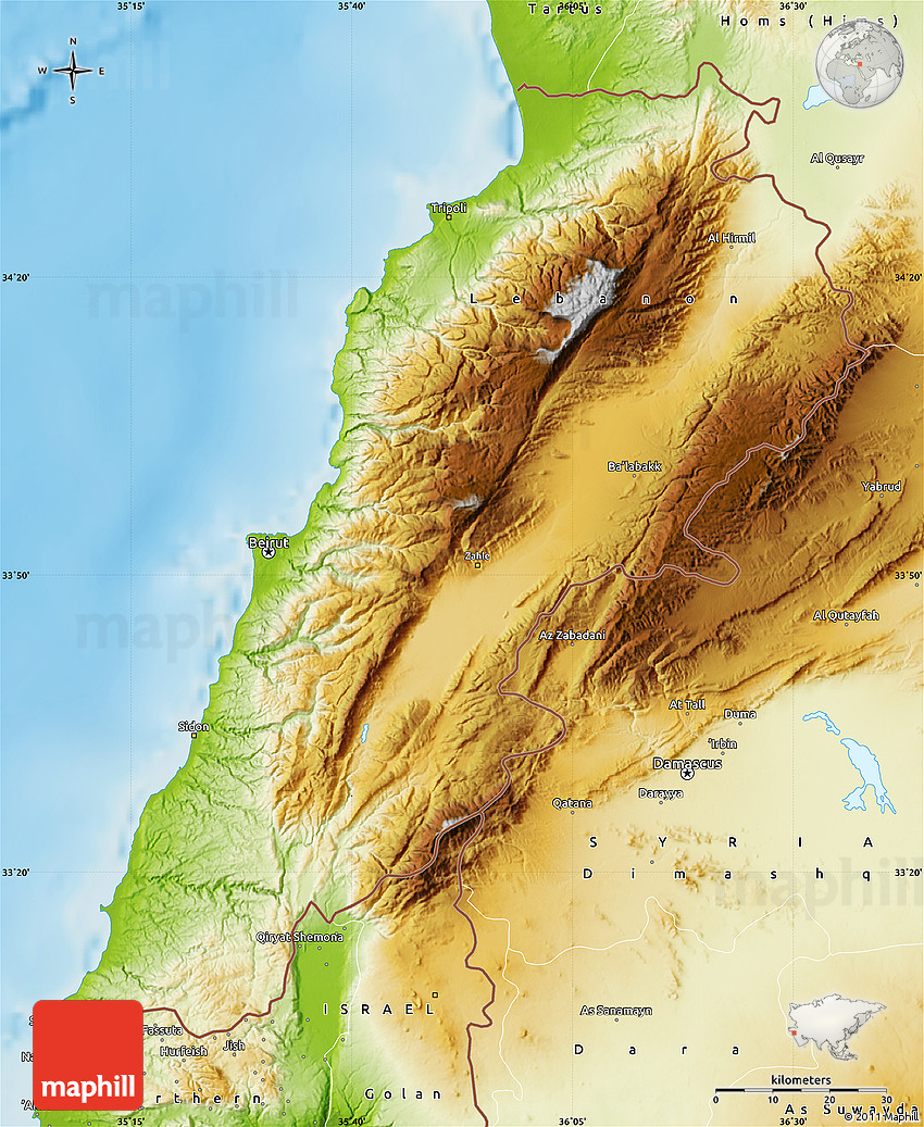 Physical Map of Lebanon