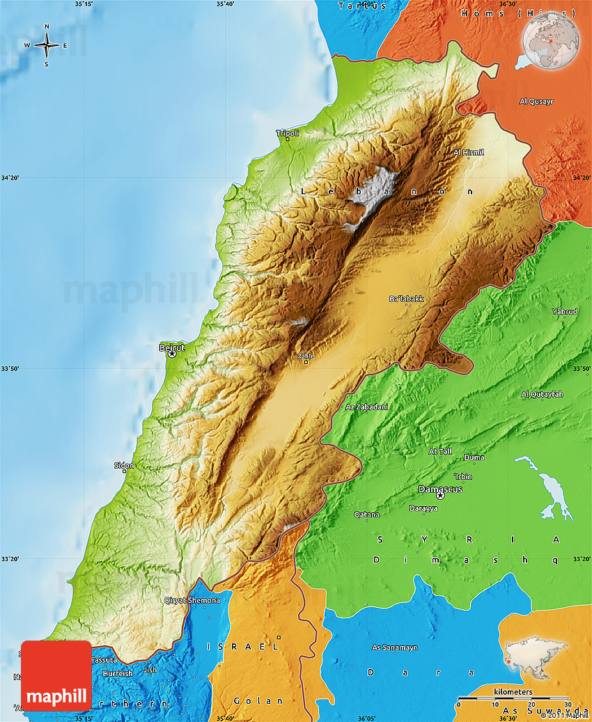 Physical Map Of Lebanon Political Outside Shaded Relief Sea