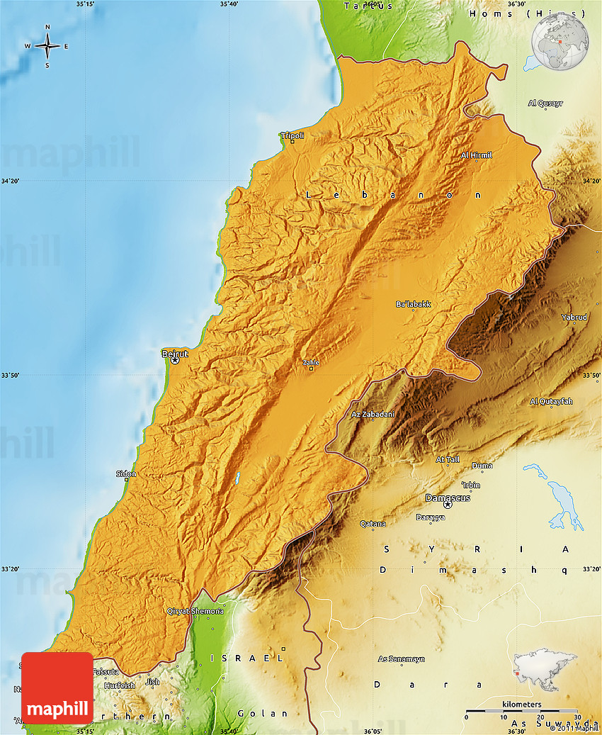 Political Map of Lebanon physical outside