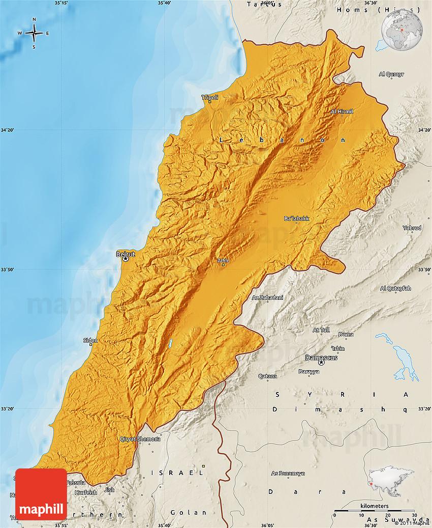 Political Map Of Lebanon Shaded Relief Outside Bathymetry Sea