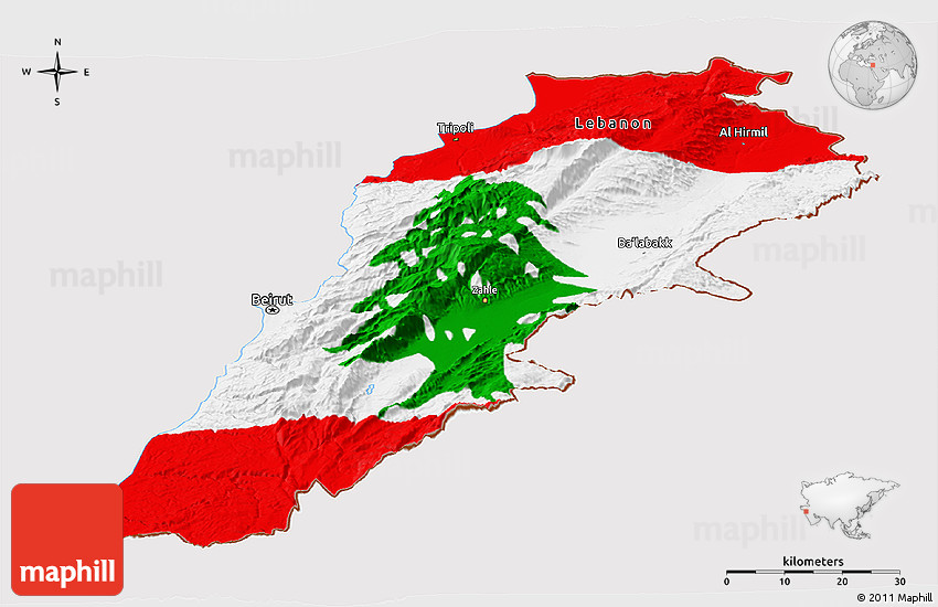 Flag Panoramic Map Of Lebanon - Lebanon map