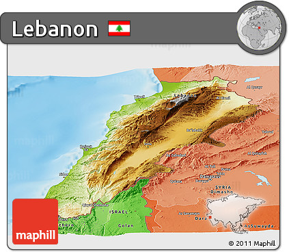 Free Physical Panoramic Map of Lebanon political shades outside