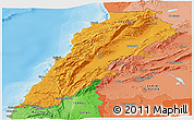 Political Shades Panoramic Map of Lebanon