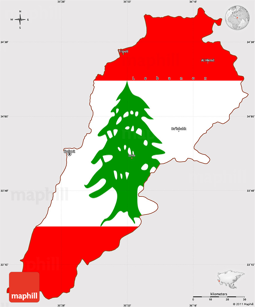 Flag Simple Map Of Lebanon