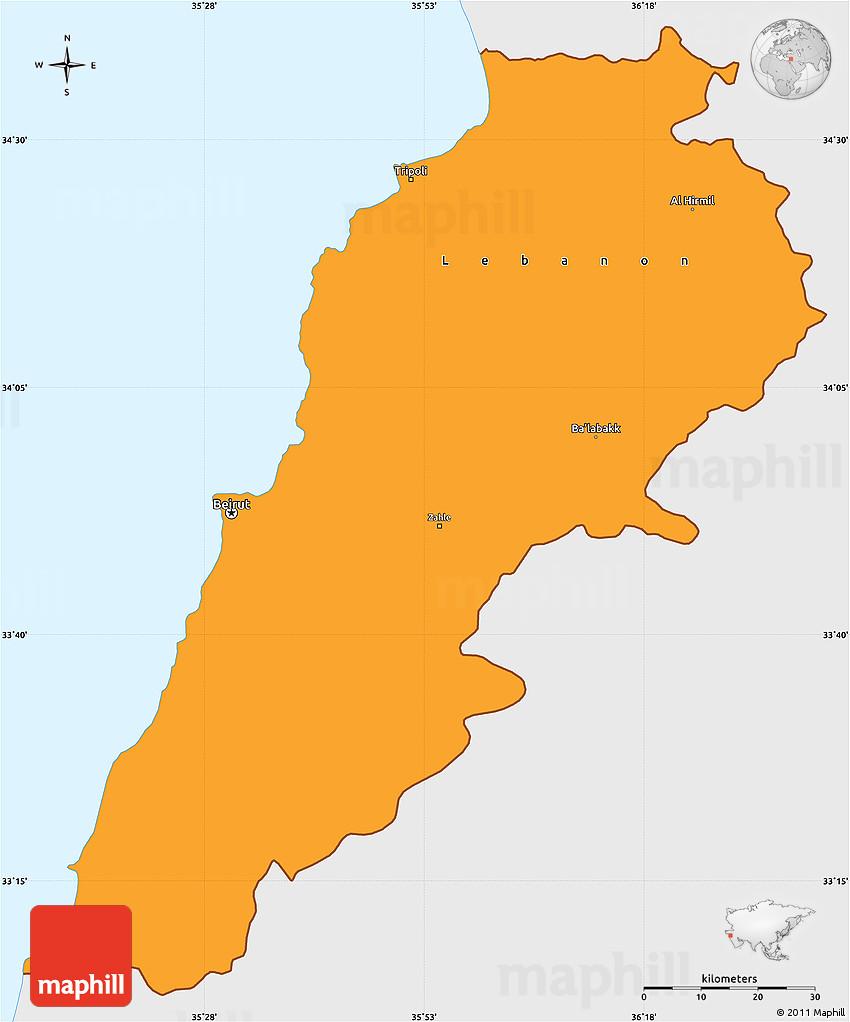 Political Simple Map of Lebanon single color outside