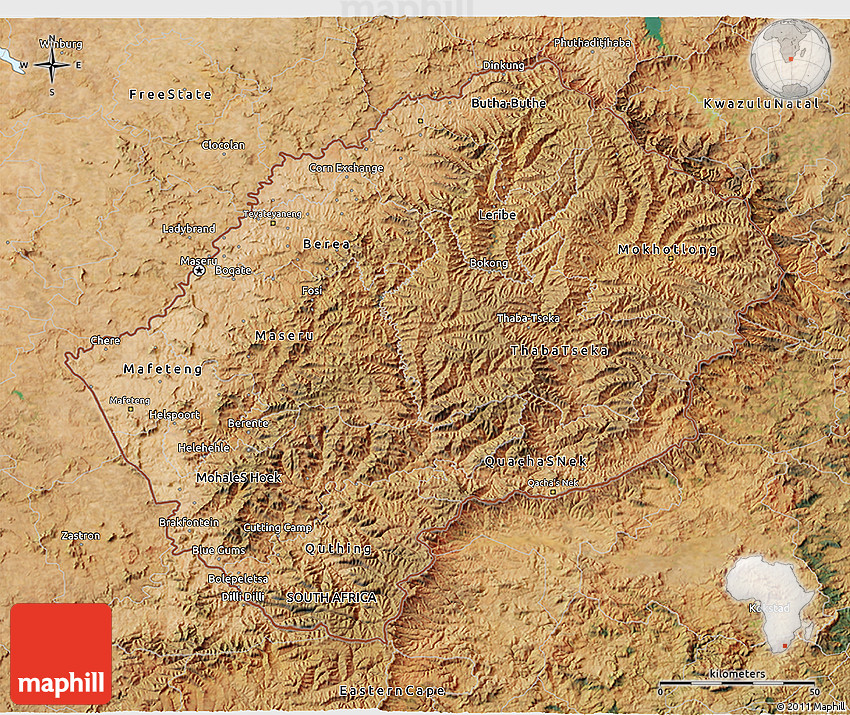 Satellite 3D Map of Lesotho