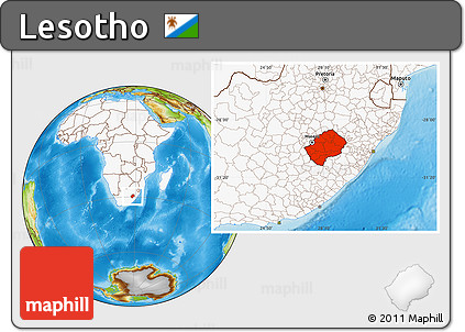 Physical Location Map of Lesotho, highlighted continent