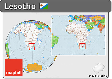 Free Political Location Map Of Lesotho Highlighted Continent - Lesotho political map