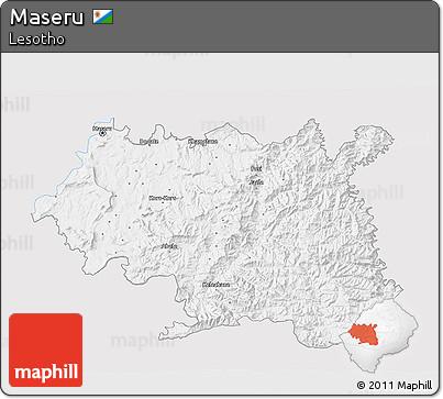 Free Silver Style D Map Of Maseru Single Color Outside - maseru map