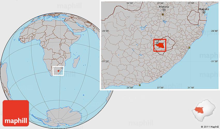 Gray Location Map Of Maseru - maseru map