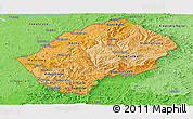 Political Shades Panoramic Map of Lesotho