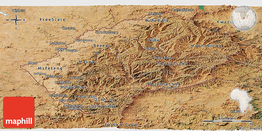 Satellite Panoramic Map Of Lesotho - Lesotho maps with countries