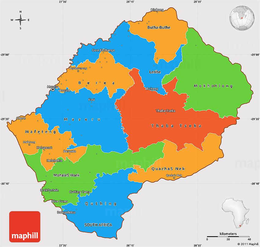 Political Simple Map Of Lesotho Cropped Outside - Lesotho political map