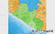 Political Shades 3D Map of Liberia