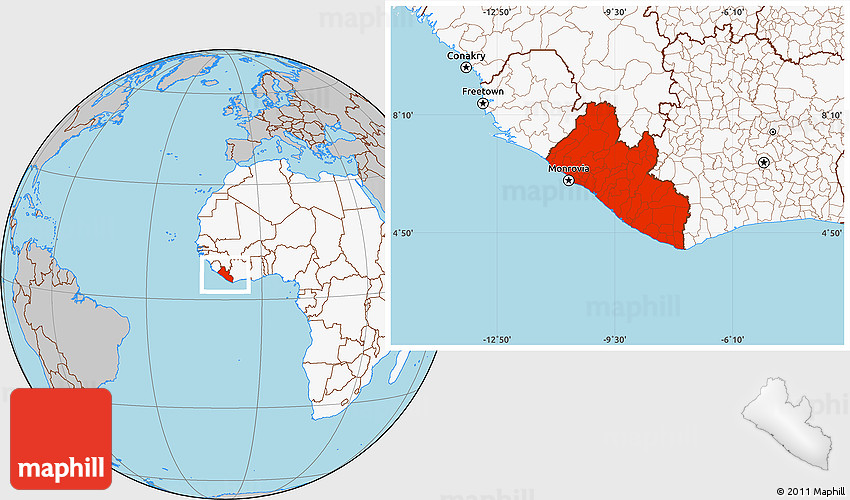Gray Location Map Of Liberia Highlighted Continent