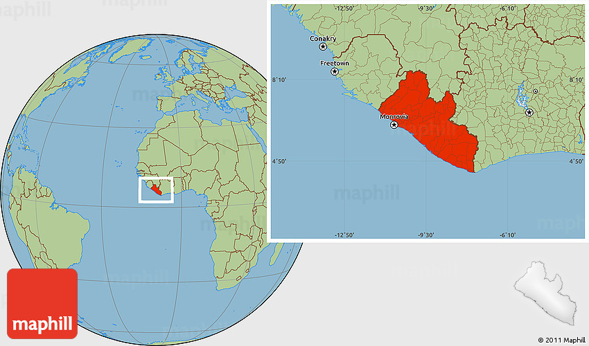 Savanna Style Location Map of Liberia
