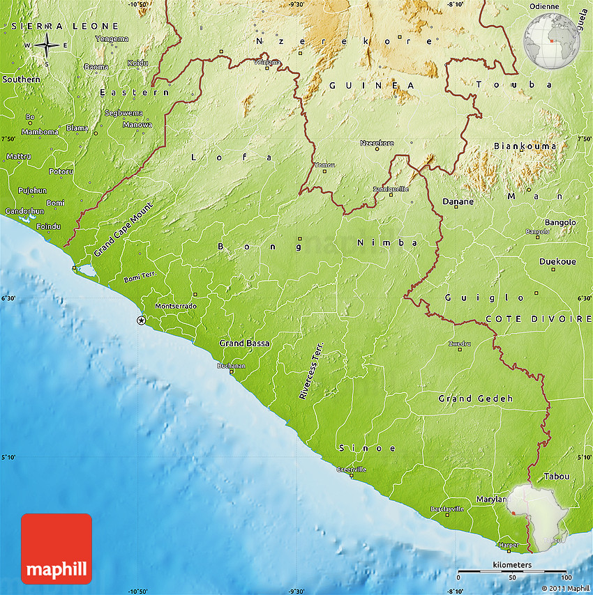 Physical Map of Liberia