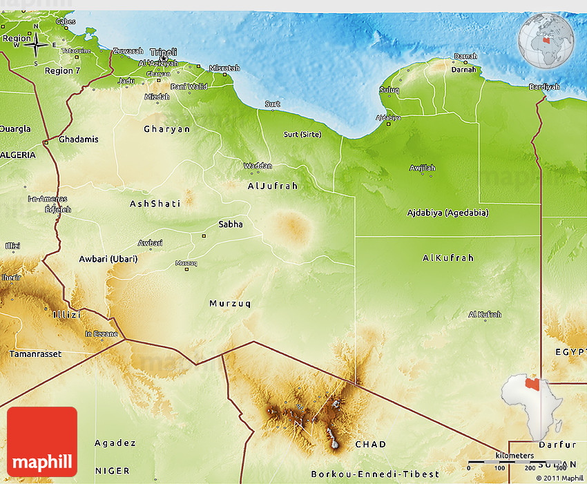 Physical 3D Map of Libya