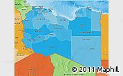 Political Shades 3D Map of Libya