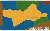 Political 3D Map of Ash Shati, darken