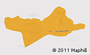 Political 3D Map of Ash Shati, single color outside