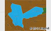 Political 3D Map of Awbari (Ubari), darken