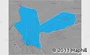 Political 3D Map of Awbari (Ubari), desaturated