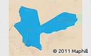 Political 3D Map of Awbari (Ubari), lighten