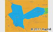 Political 3D Map of Awbari (Ubari)