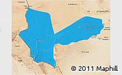 Political 3D Map of Awbari (Ubari), satellite outside
