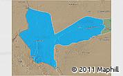 Political 3D Map of Awbari (Ubari), semi-desaturated