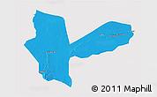 Political 3D Map of Awbari (Ubari), single color outside