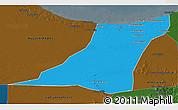 Political 3D Map of Az Zawia (Azzawiya), darken