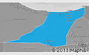 Political 3D Map of Az Zawia (Azzawiya), desaturated