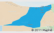 Political 3D Map of Az Zawia (Azzawiya), lighten