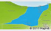 Political 3D Map of Az Zawia (Azzawiya), physical outside